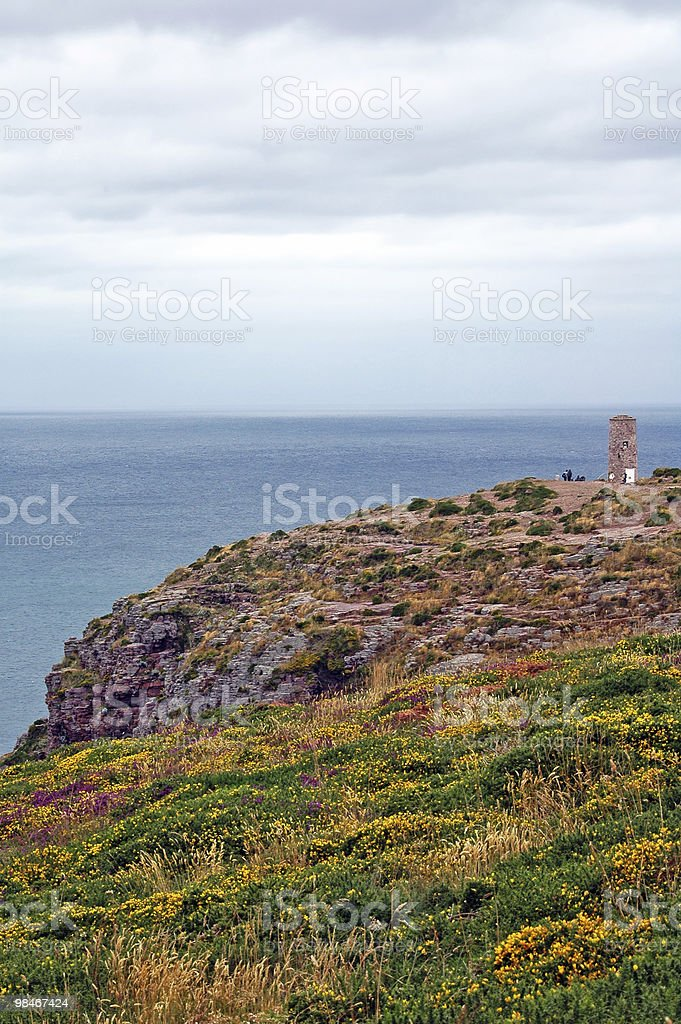Cap Frehel (Brittany, France): the colorful promontory at summer royalty-free stock photo