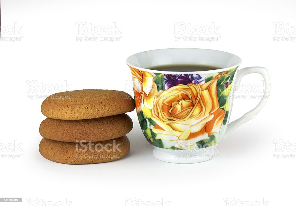 cap of tea and biscuit royalty-free stock photo