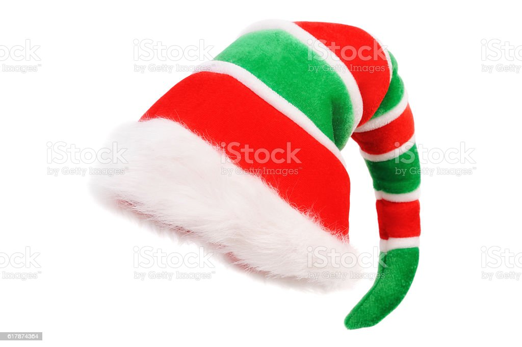 Cap of the Christmas Elf. Isolated over white stock photo