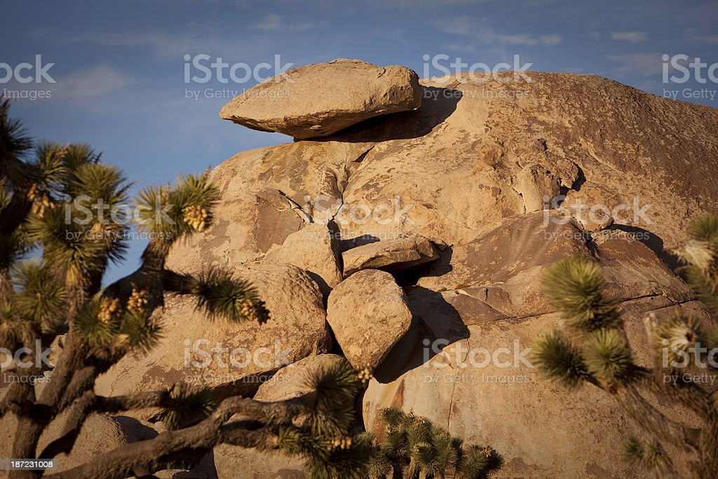 Cap Rock at sunset in Joshua Tree National Park royalty-free stock photo
