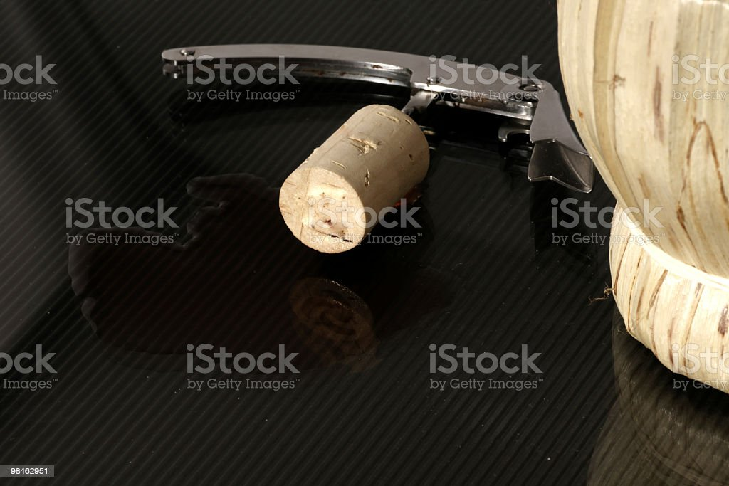cap with bottle of local wine in Tuscany Italy royalty-free stock photo