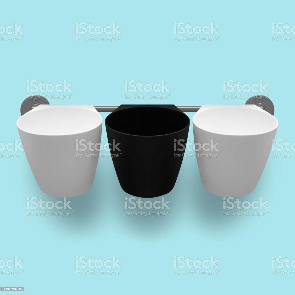 Capacities - Three empty plastic cups stock photo