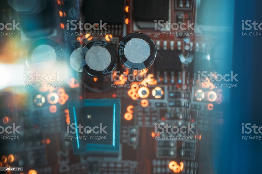 Capacitor Microchip Print Circuit Board Innovation Stock Photo - Download  Image Now