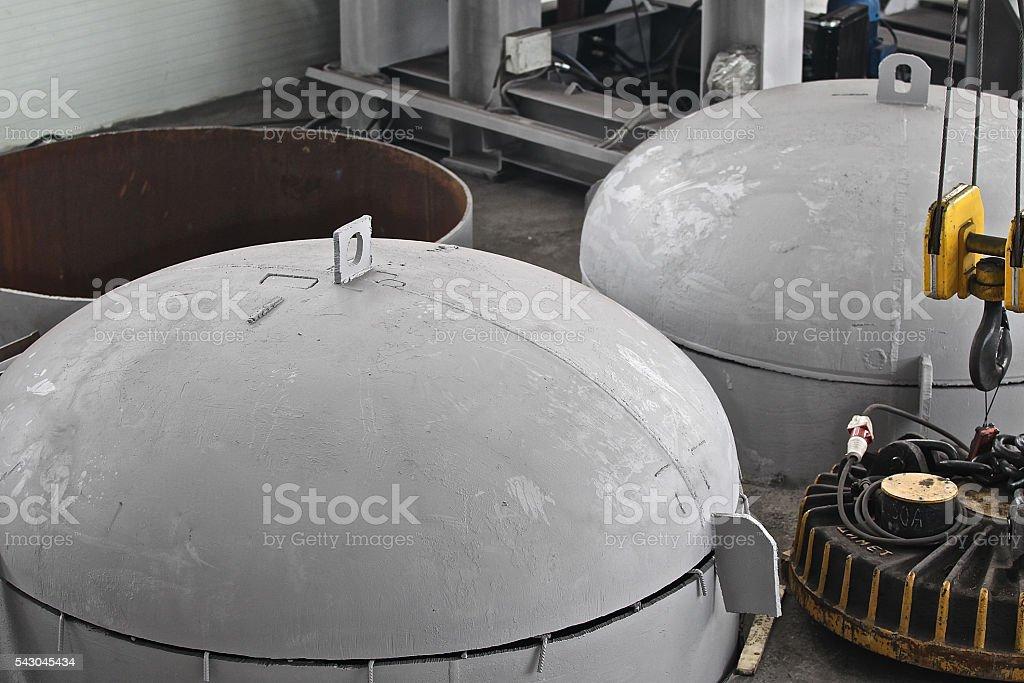 capacity for heat treatment of metal stock photo