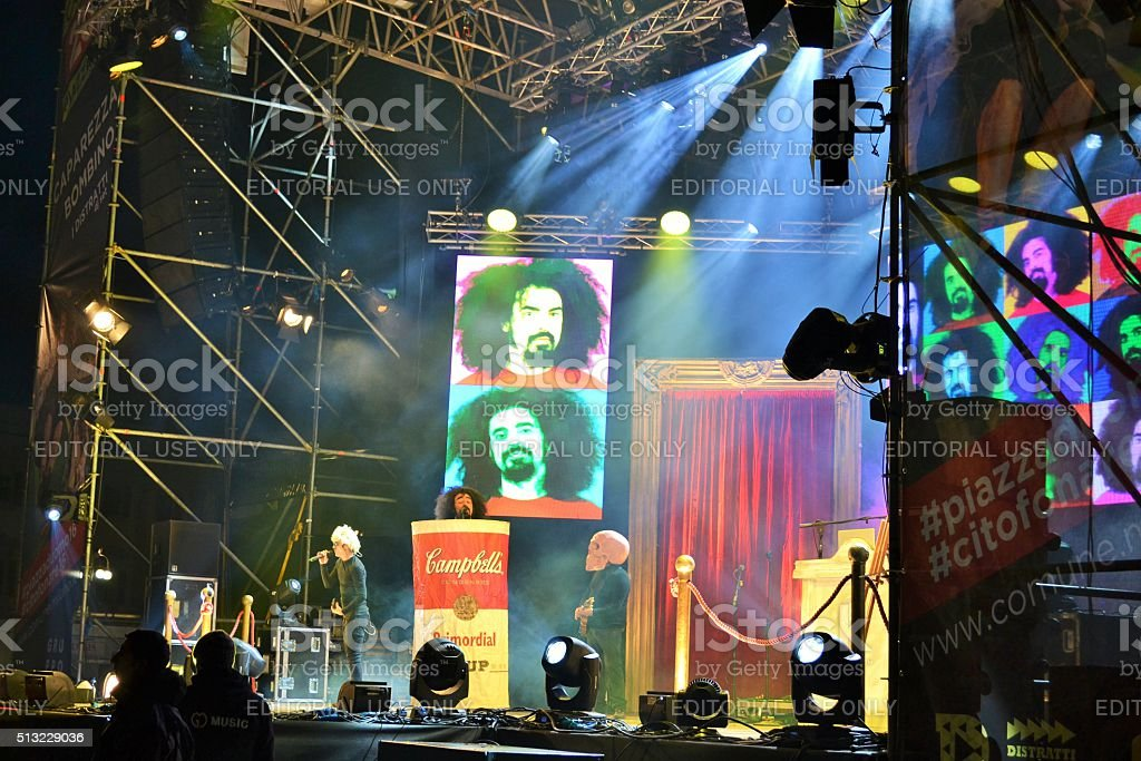 Caparezza music band at New Year's concert in Milan. stock photo