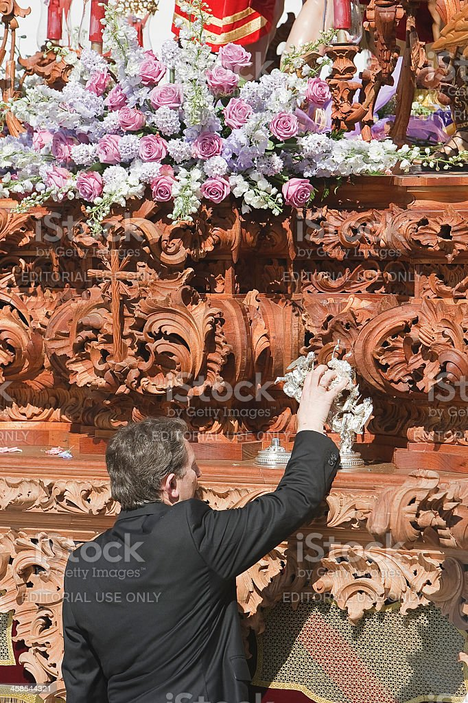 Capataz tapping with the caller of silver royalty-free stock photo