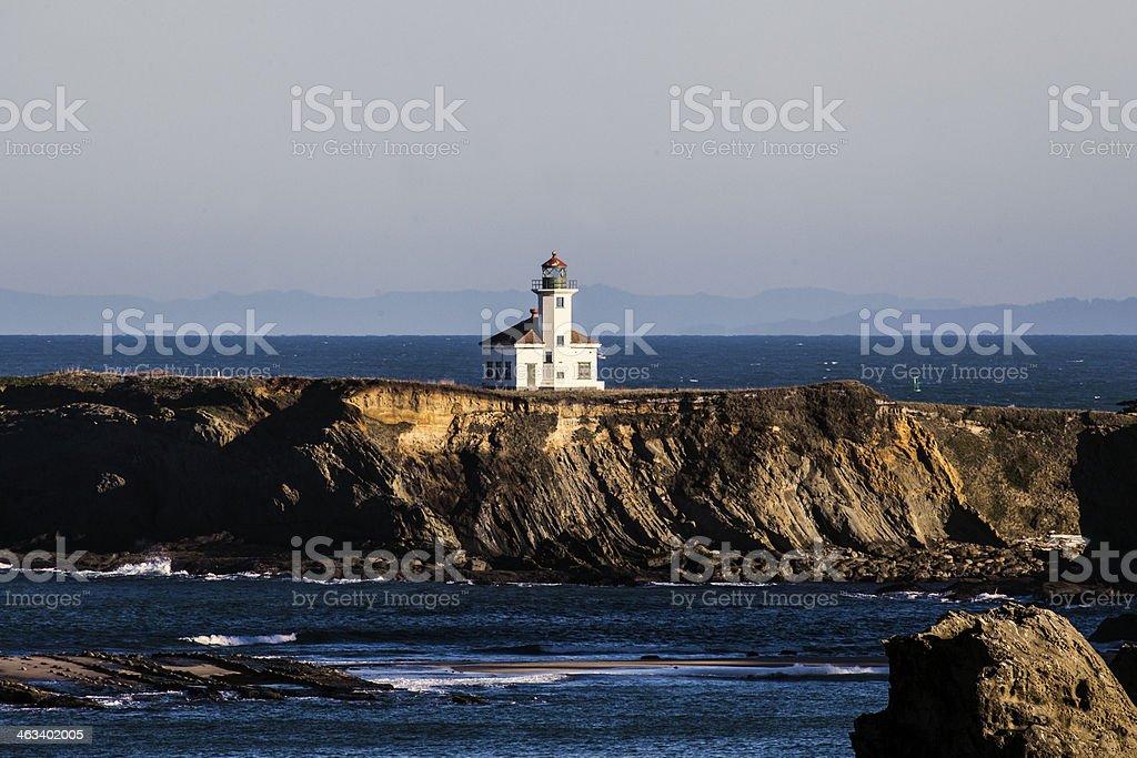 Cape Arago Lighthouse near Coos Bay, Oregon stock photo