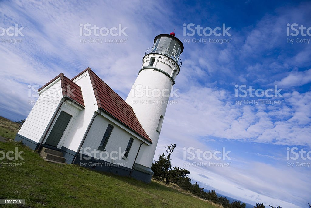 Cape Blanco Lighthouse Oregon West Coast Cloudy Day Landscape royalty-free stock photo