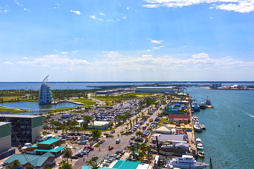 Cape Canaveral Usa The Arial View Of Port Canaveral From Cruise Ship — стоковые фотографии и другие картинки Port Canaveral
