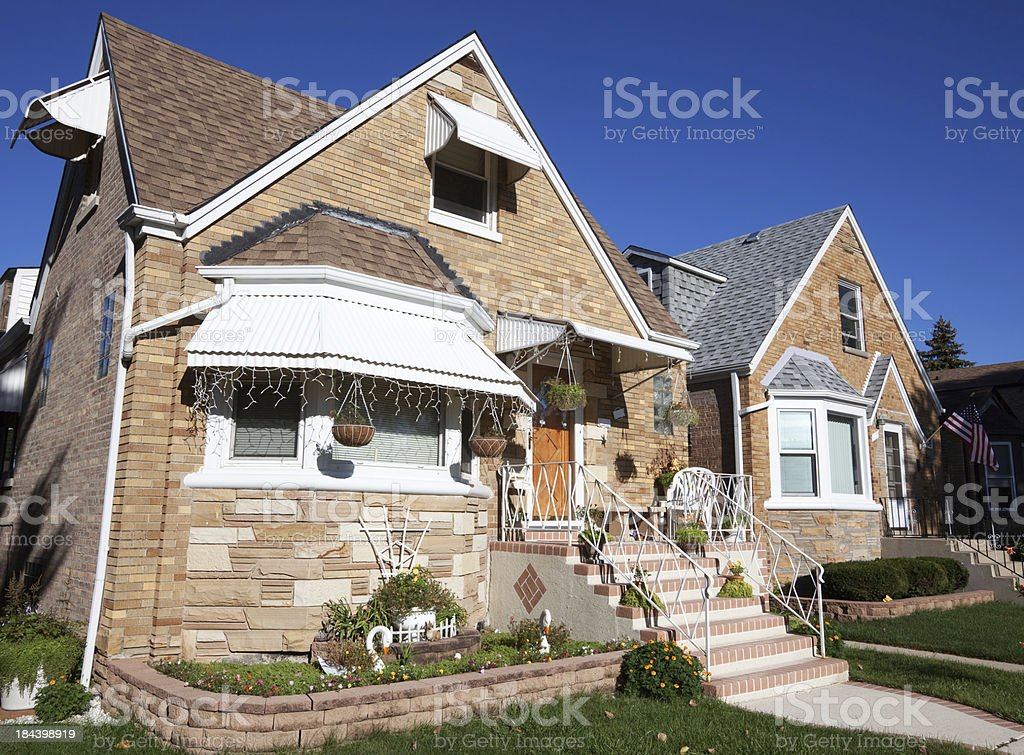 Cape Cod Bungalows  in Montclare, Chicago royalty-free stock photo