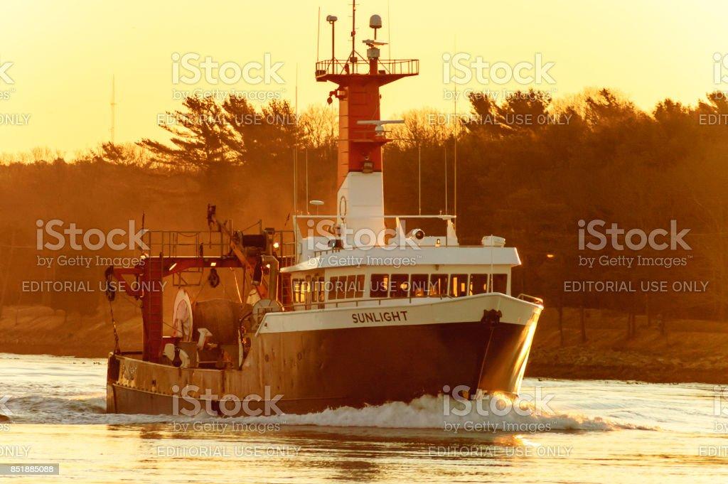 Cape Cod Canal Fishing vessel Sunlight stock photo