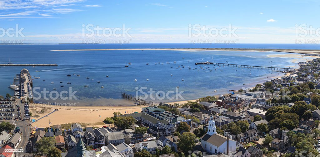 Cape Cod city view and beach and ocean view from above. stock photo
