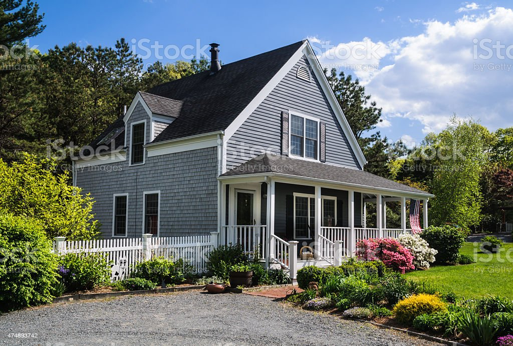 Cape Cod Cottage stock photo