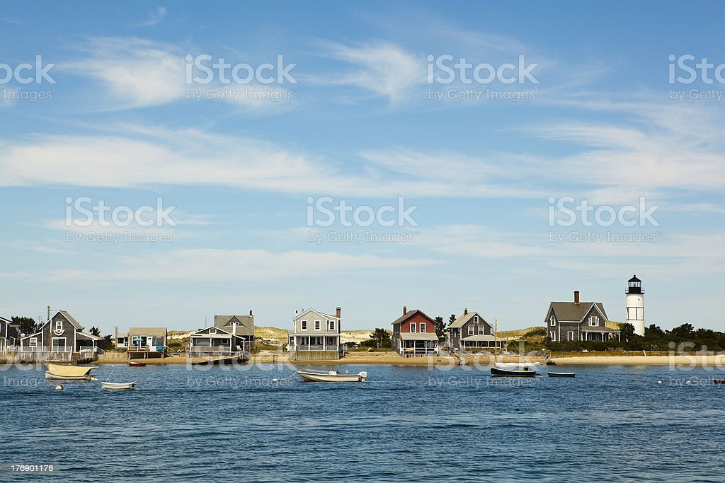 cape cod: houses by the sea stock photo