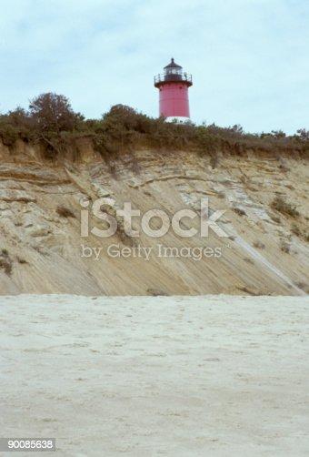 istock Cape Cod Lighthouse On Sand Cliff 90085638