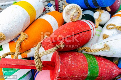 Pile of lobster buoys from Cape Cod, Massachusetts, USA