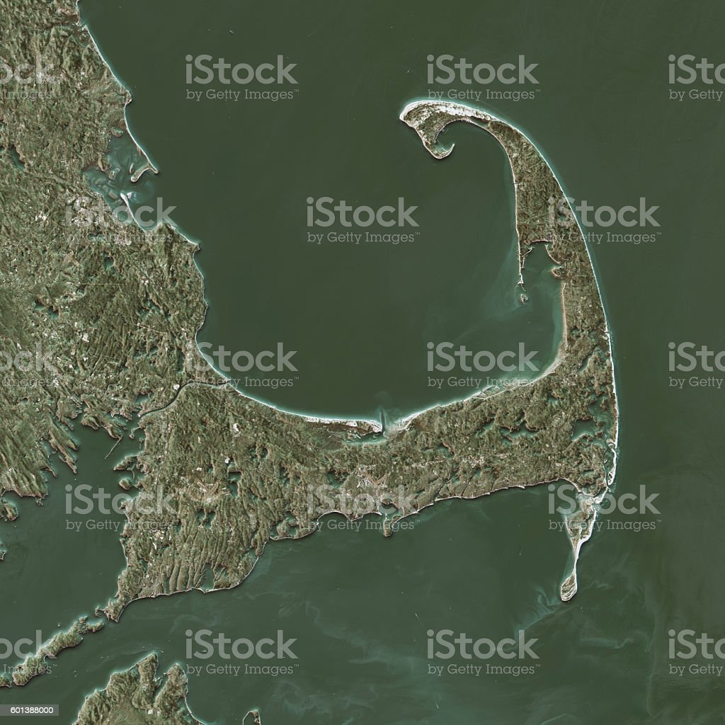 Cape Cod Topographic Map Natural Color Top View stock photo
