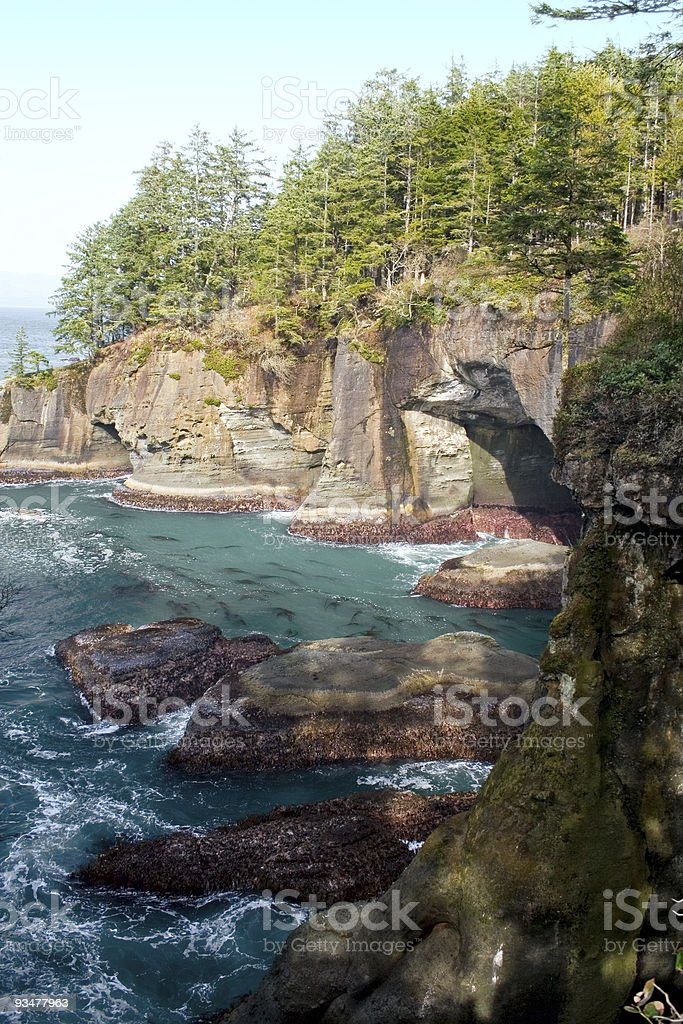 Cape Flattery Rocks and Caves stock photo