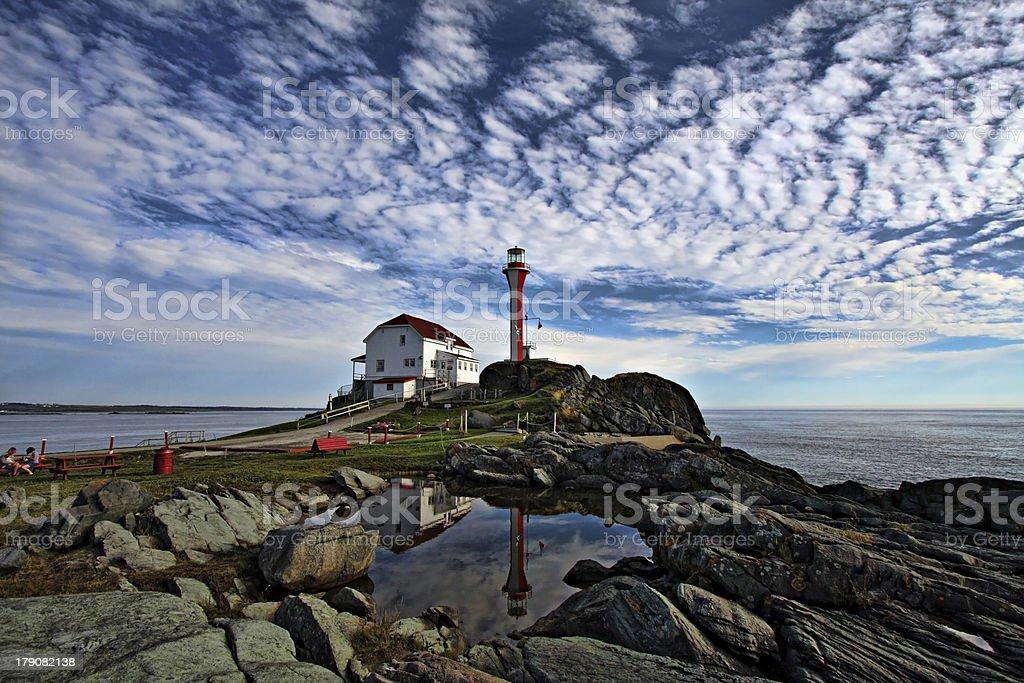 Cape Forchu Lighthouse Reflection stock photo