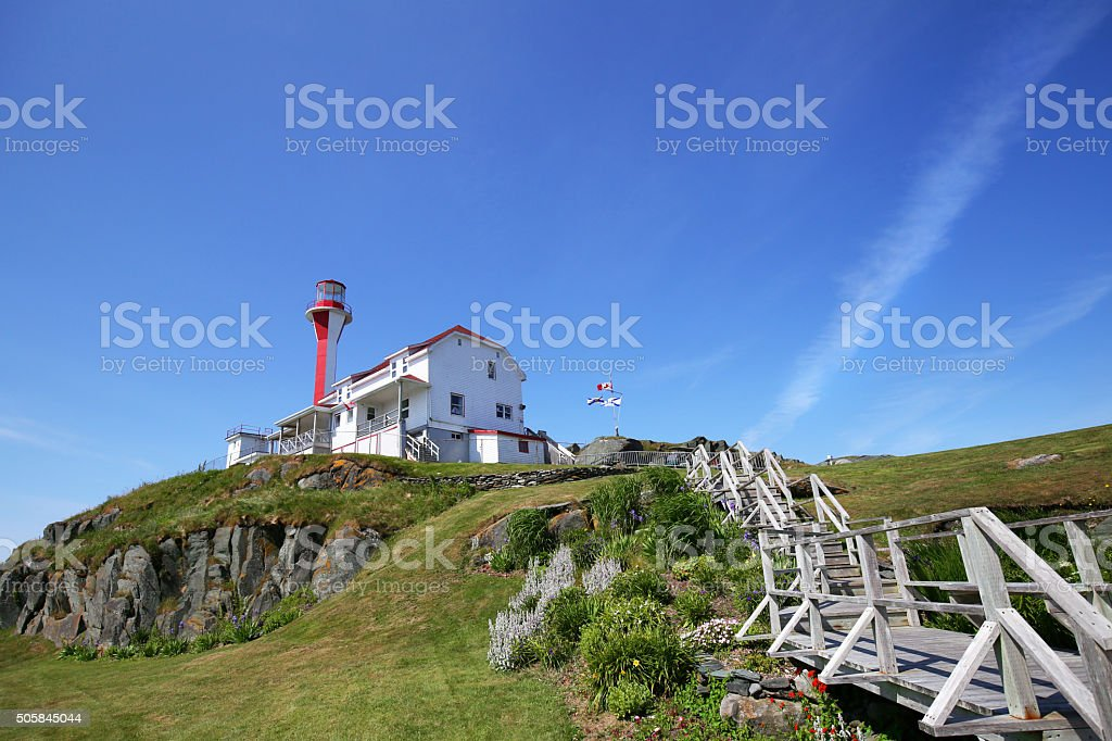 Cape Forchu Lightstation, Yarmouth, Nova Scotia stock photo