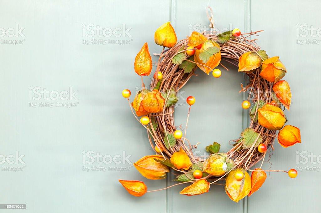 Cape Gooseberry Autumnal Wreath stock photo