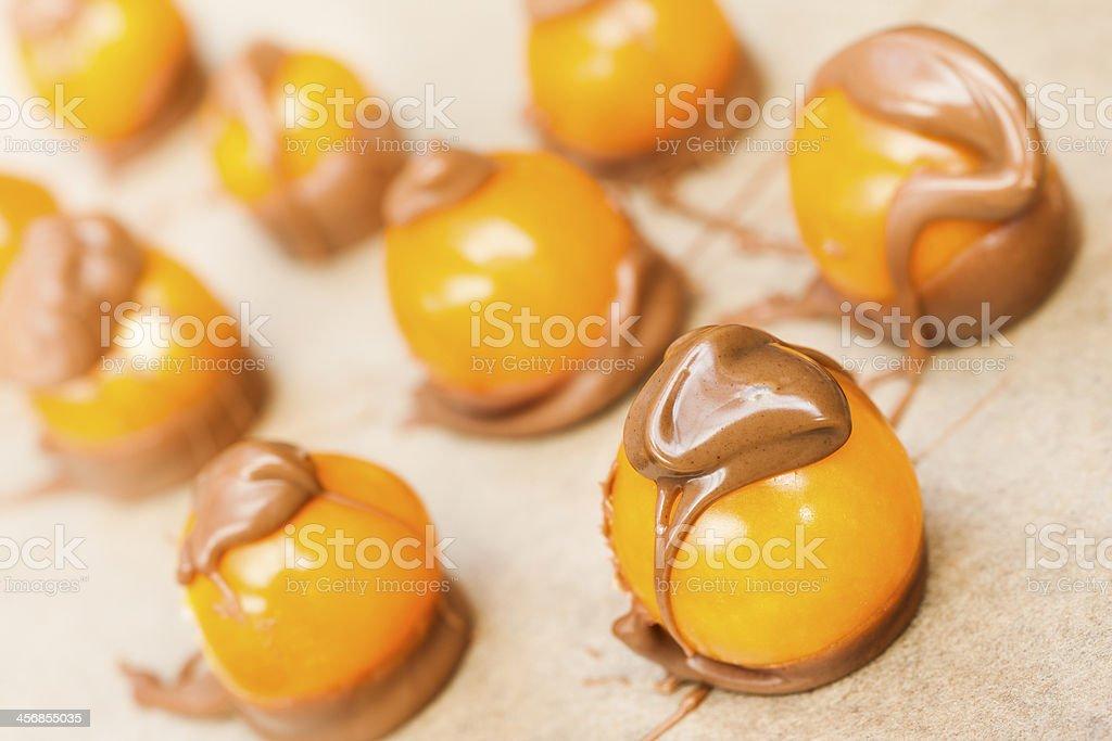 Cape gooseberry in chocolate stock photo
