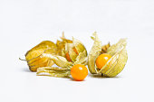 Cape Gooseberry (Physalis Peruviana) or Ground cherries, Physalis minima, Pygmy ground cherry, Inca berry, Golden strawberry, Strawberry tomato, Husk tomato isolated on white background