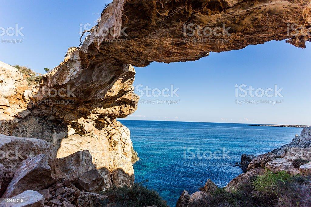 Cape Greco - Sea Caves, Cyprus stock photo