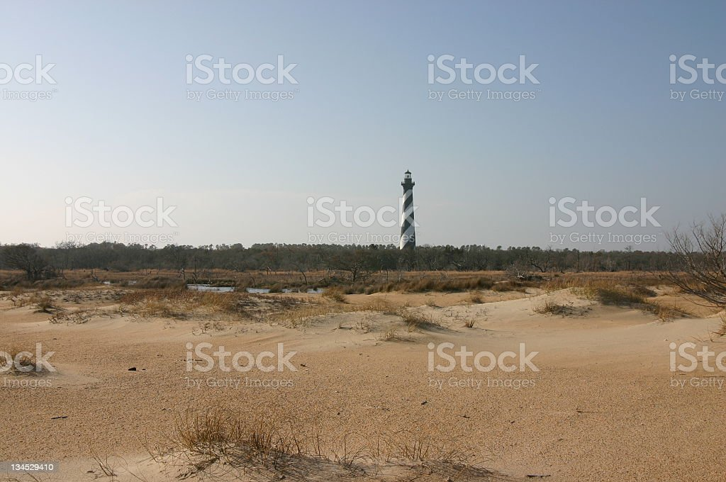 Cape Hatteras Beach and Lighthouse stock photo