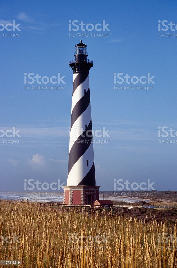 Cape Hatteras Lighthouse in golden summer stock photo