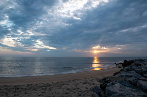 Cape Henlopen Cloudy Sunrise stock photo
