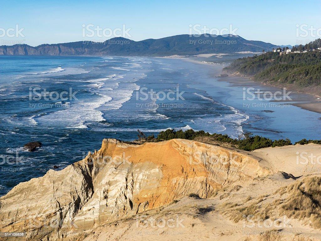 Cape Kiwanda View From Sand Dune Surf Pacific City Oregon stock photo