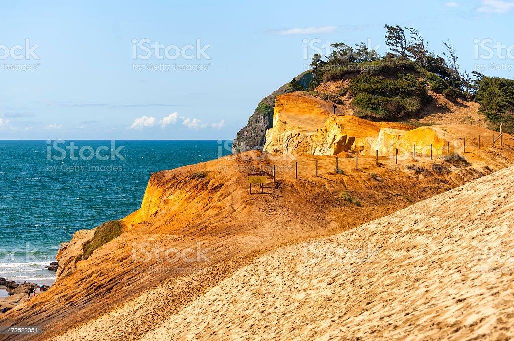 Cape Kiwanda's Geological Sandstone on the Oregon Coast stock photo
