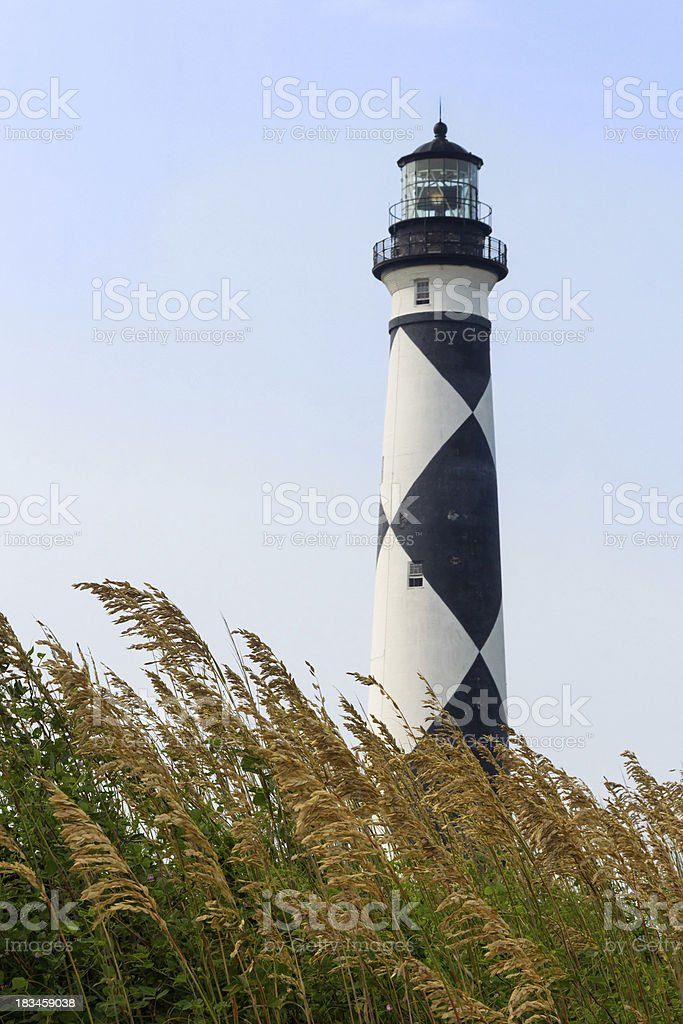 Cape Lookout Lighthouse and Sea Oats stock photo
