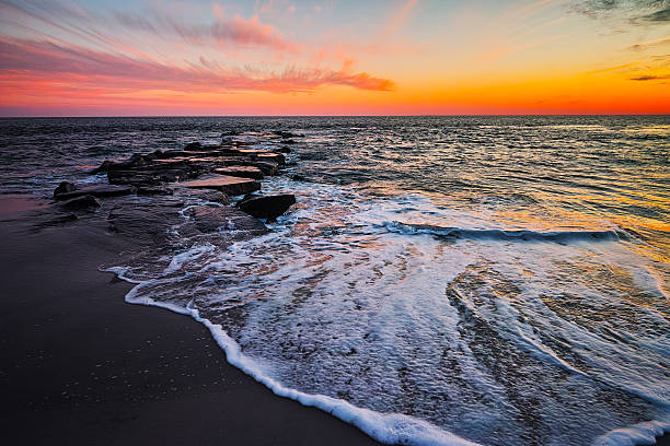 Cape May Beach sunset stock photo