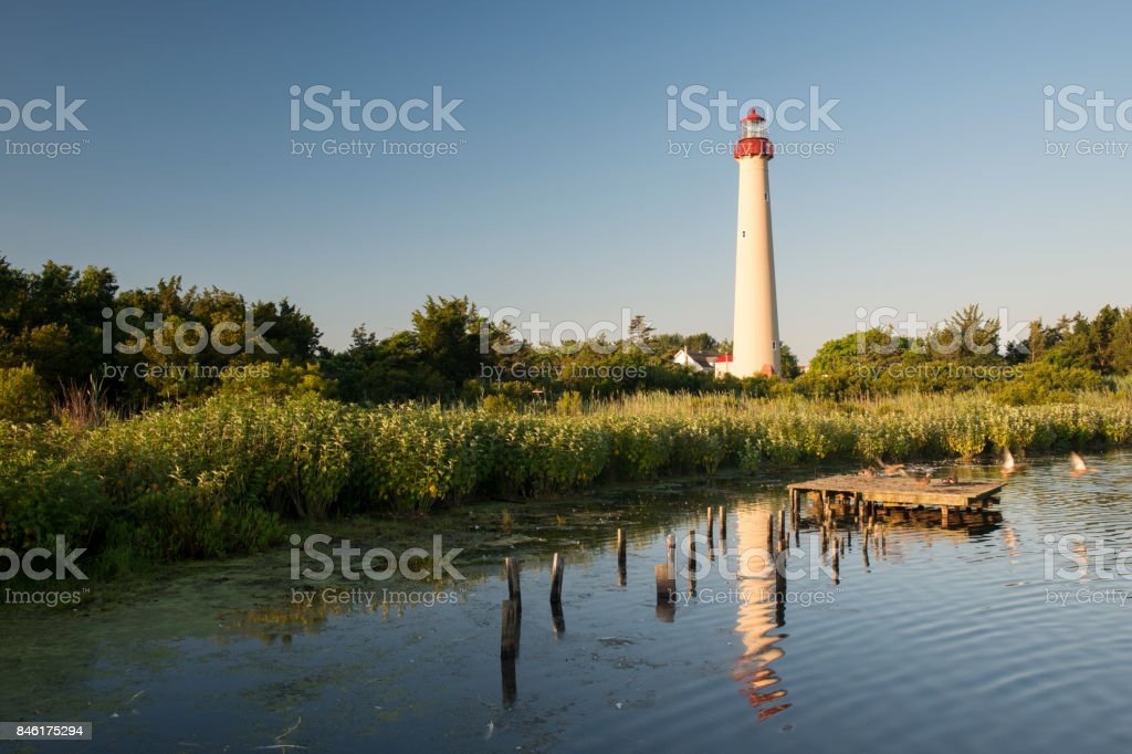 Cape May Lighthouse and Reflection stock photo