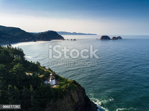 Aerial view of Cape Meares, an outcrop at the southern end of Tillamook Bay in Oregon.