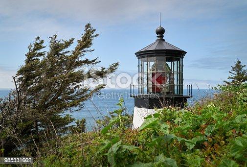 Historic Cape Meares lighthouse on the Oregon Coast, United States.