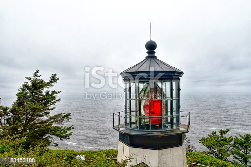 Picture of the Cape Meares Lighthouse with fresnel lens in Oregon, USA.