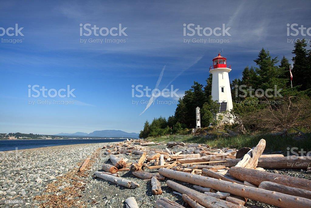 Cape Mudge Lighthouse on Vancouver Island stock photo