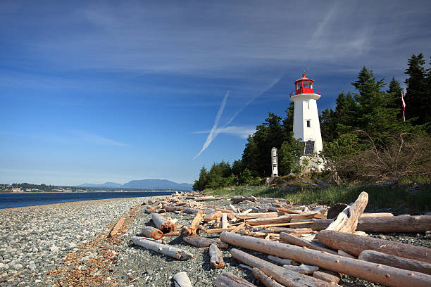 Cape Mudge Lighthouse on Vancouver Island stock photo