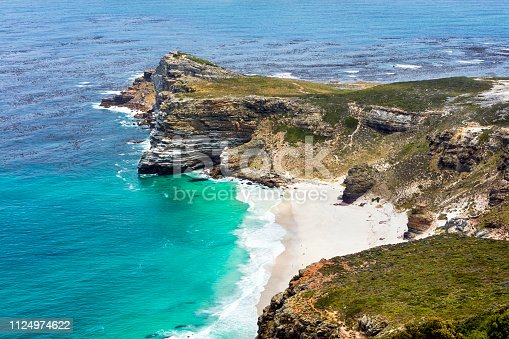 Elevated view of the Cape of Good Hope, Diaz Beach, Garden Route, Atlantic Ocean, south-west corner of the Cape Peninsula, South Africa.