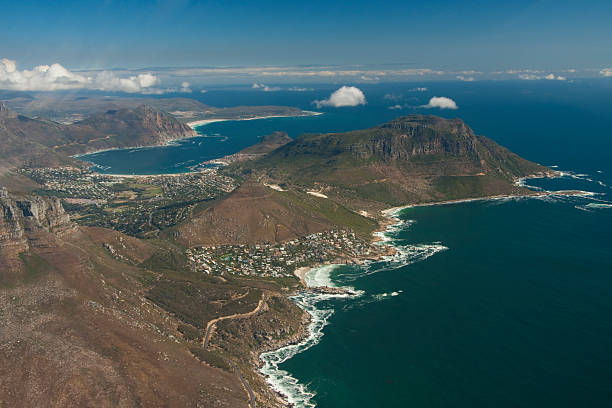 Cape Peninsula towards Hout Bay Aerial view of the surroundings of Cape Town hout stock pictures, royalty-free photos & images