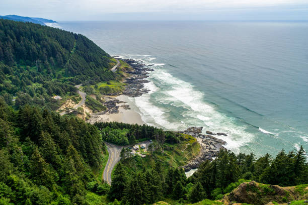 Cape Perpetua Scenic Overlook. Aerial view of the Cape Perpetua coastline from the Devils Churn to the Cooks Chasm, Yachats, Oregon coast, USA. stock photo
