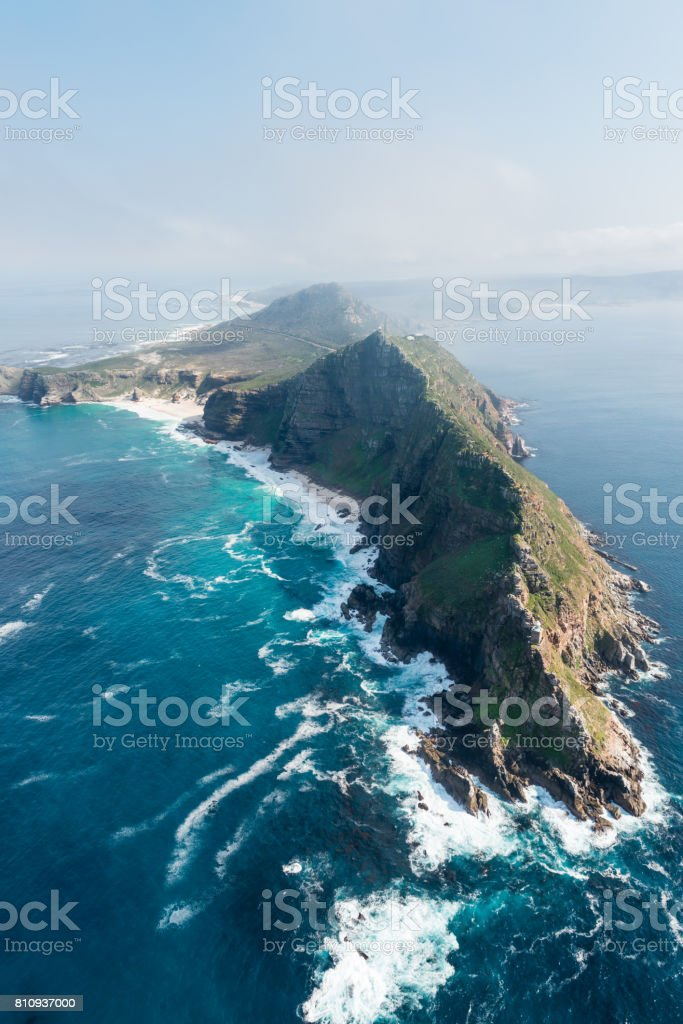 Cape Point (South Africa) aerial view stock photo