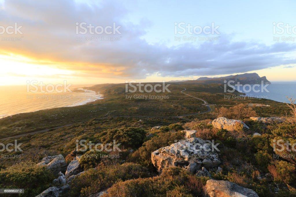 Cape Point Cape of Good Hope Africa sunset hiking peninsula stock photo