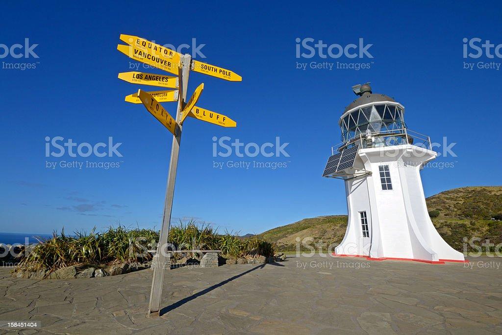 Cape Reinga lighthouse and signposts stock photo