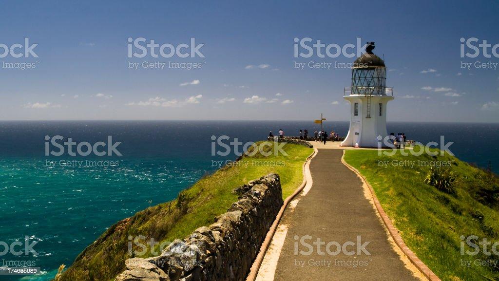 Cape Reinga, Lighthouse at the edge of New Zealand stock photo