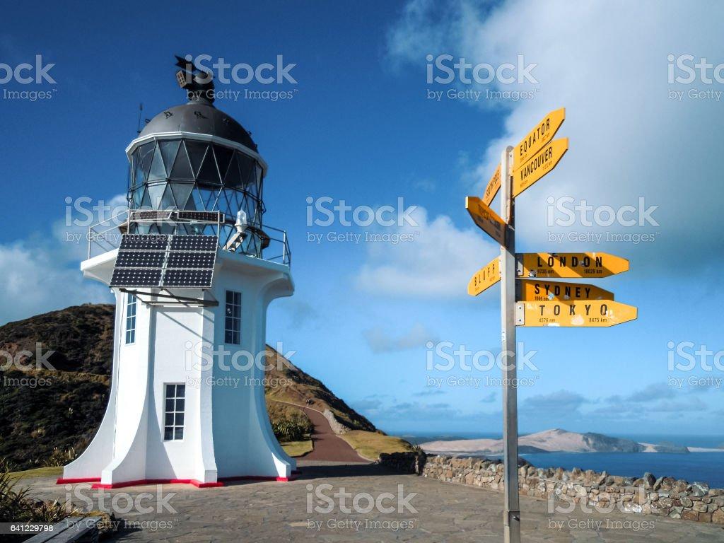 Cape Reinga, Lighthouse, New Zealand - Stock Image stock photo