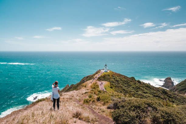 Cape Reinga, Northland, New Zealand. Beautiful landscape scenery of the mountain meadow and blue sky. stock photo